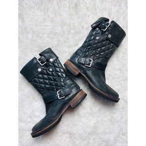 UGG Conor Quilted Leather Combat Buckle Boots